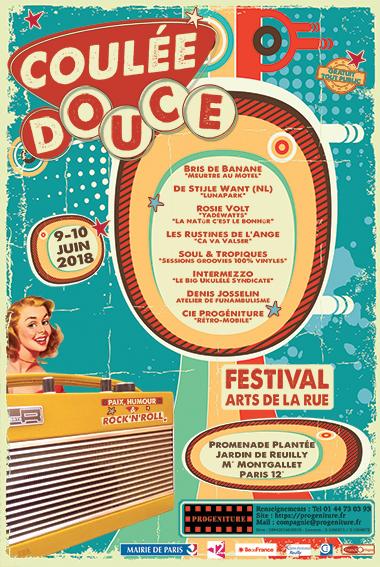 Festival des Arts de la Rue Coulée Douce - Cie Progéniture - Affiche 2018