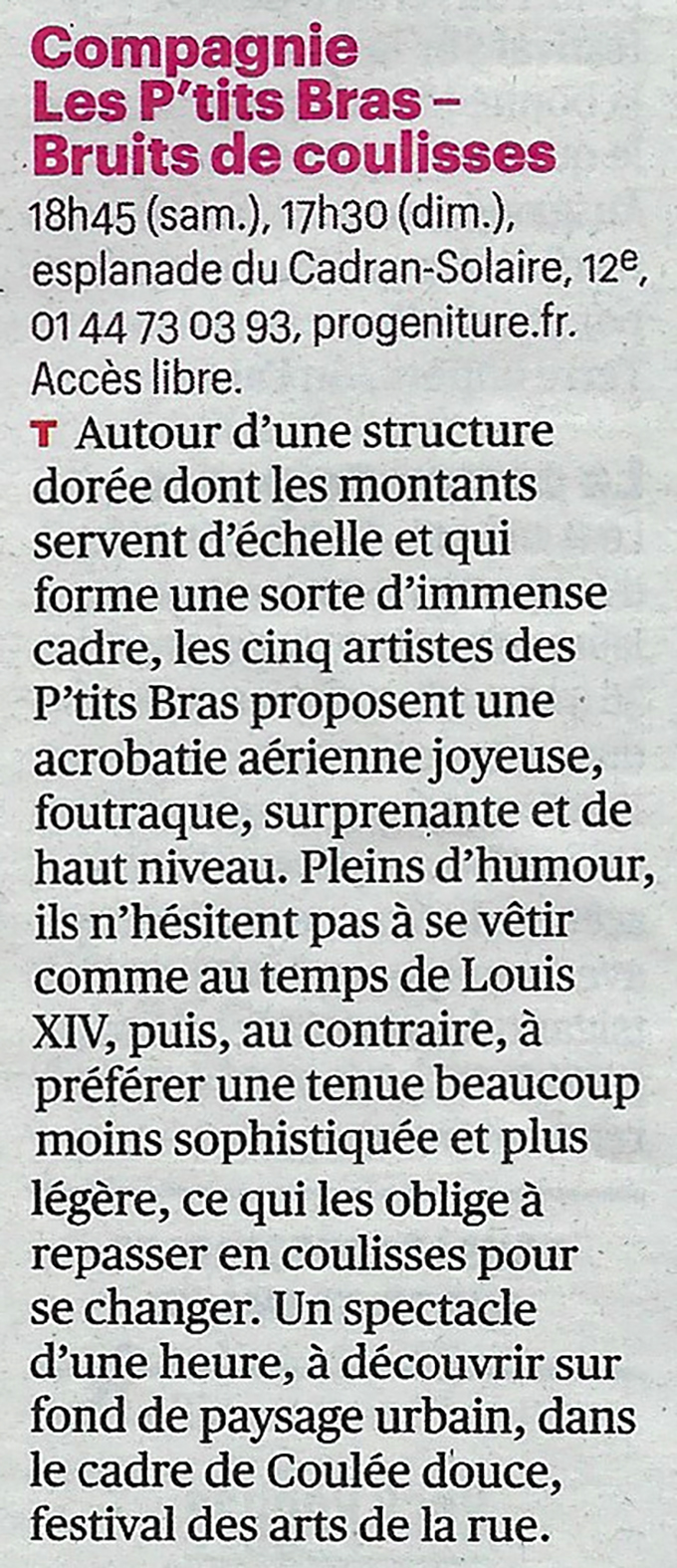 Festival Coulée Douce - Arts de la Rue - Presse